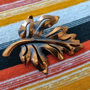 Vintage Copper Leaf Brooch Pin  1950 - 1960